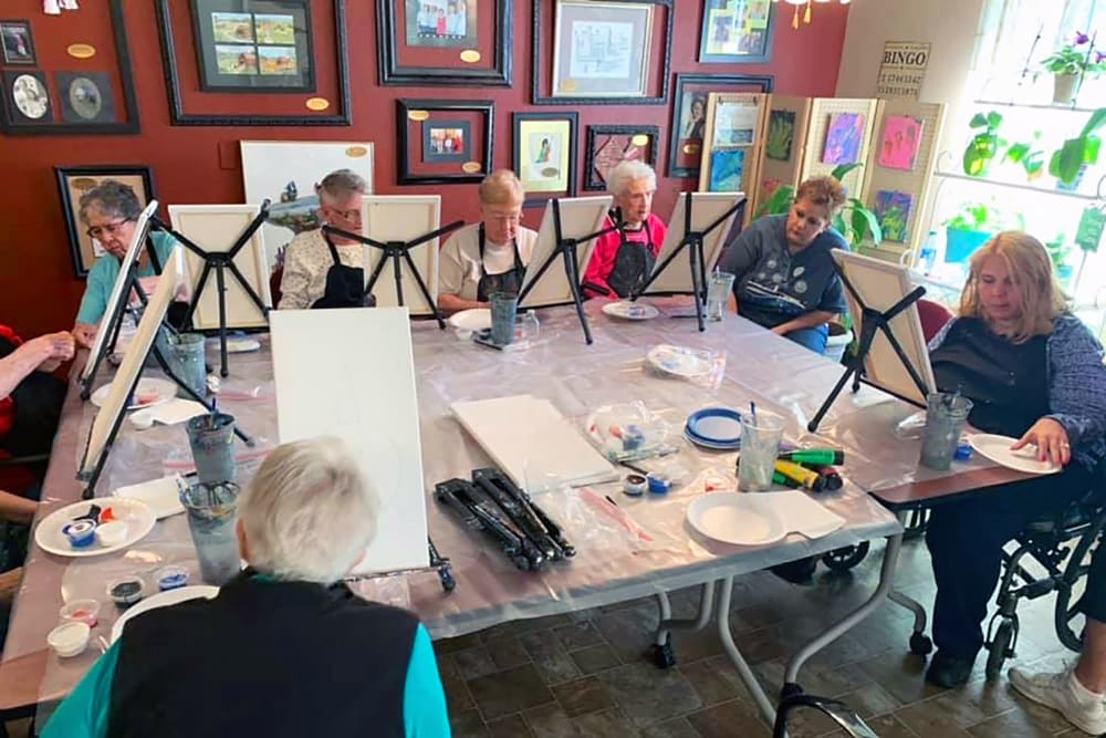 painting class at Peachtree Village Retirement Community