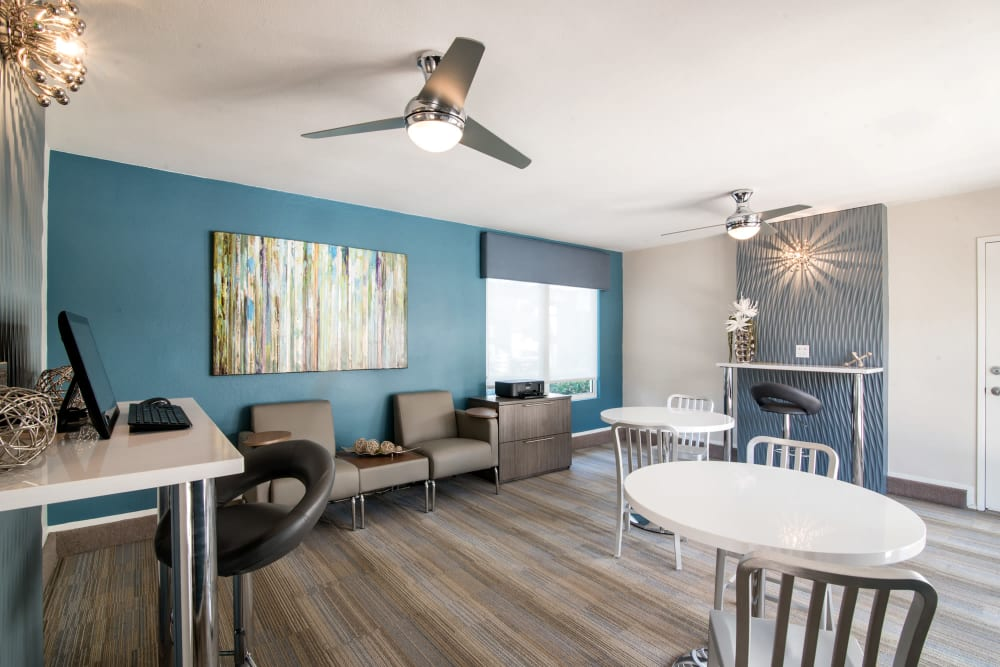 Newly renovated community space at Lakeview Village Apartments in Spring Valley, California