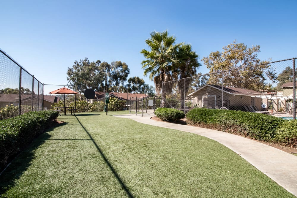 Have fun with your furry friend in the dog park at Lakeview Village Apartments in Spring Valley, California