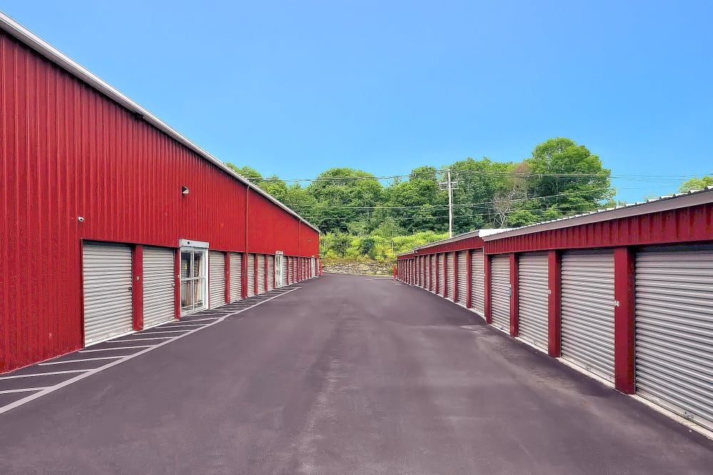 Wide driveways at Prime Storage in Whitinsville, Massachusetts
