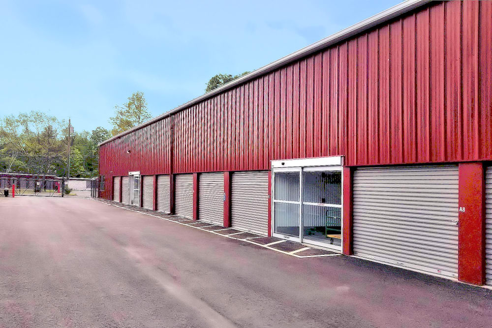 Outdoor storage units with roll up door at Prime Storage in Whitinsville, Massachusetts