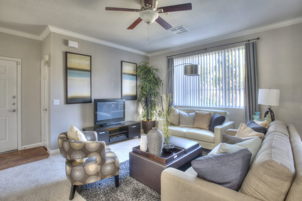 living room at The Tides Apartments in Richmond, California