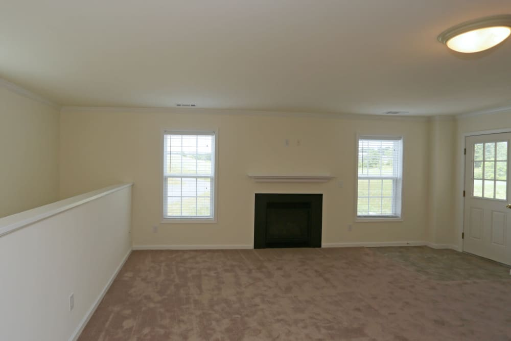 Bright, spacious living room at The Ridge in Troy, New York
