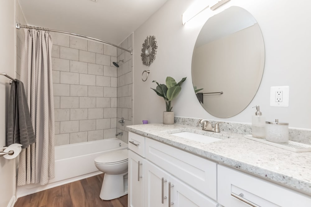 A spacious apartment bathroom at The Springs in Parkville, Maryland