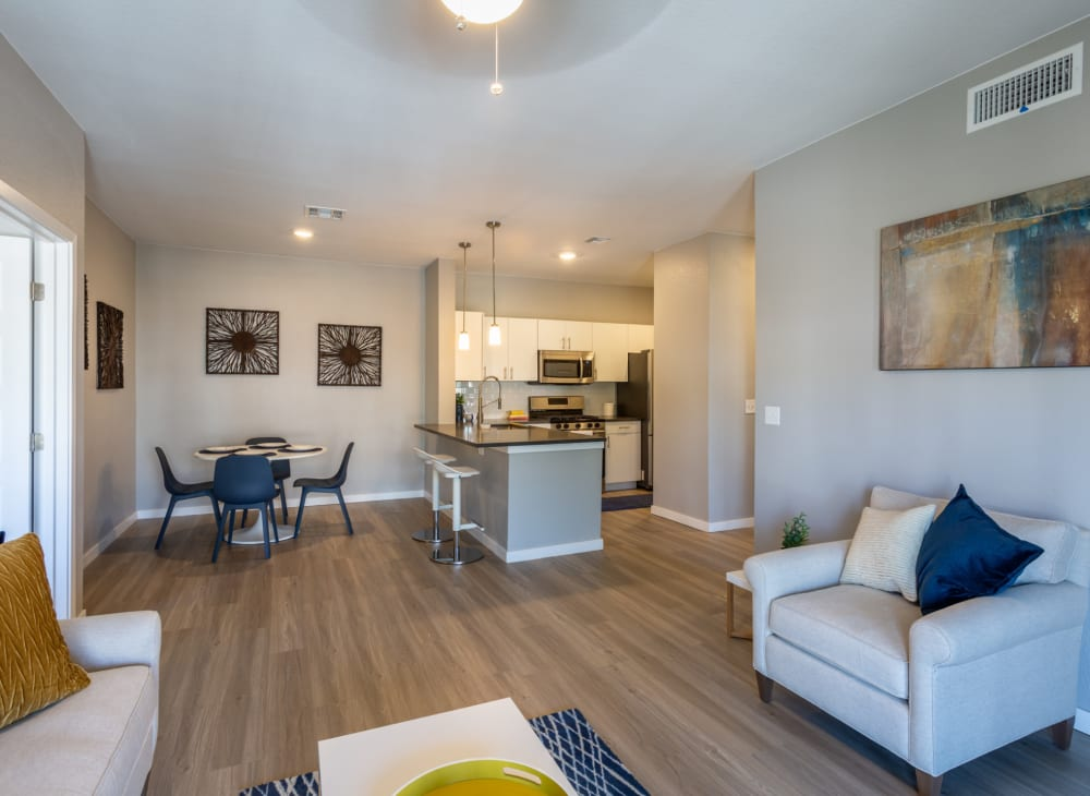 An spacious, open apartment at Hawthorne Hill Apartments in Thornton, Colorado