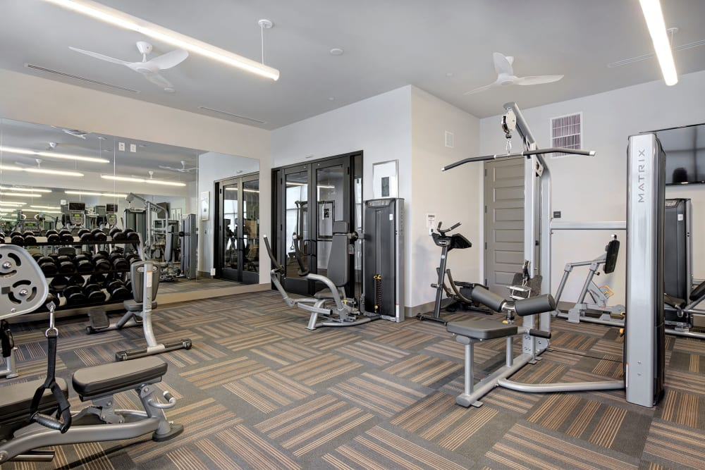 carpeted fitness center with large wall mirror Civic Lofts in Downtown Denver, CO