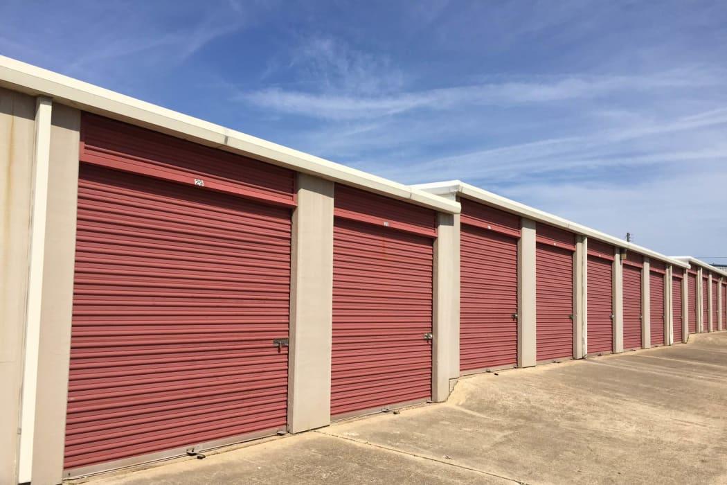 Exterior storage units at Lockaway Storage in Texarkana, Texas