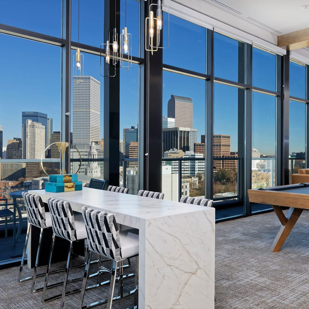 Beautiful views from lounge area at Pool table and lounge at Civic Lofts | Luxury Apartments in Downtown Denver, Colorado