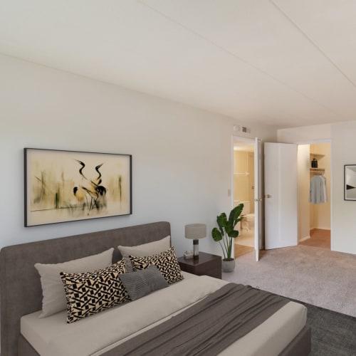 A large bedroom with a master bath at Vantage Pointe West Apartments in Cincinnati, Ohio