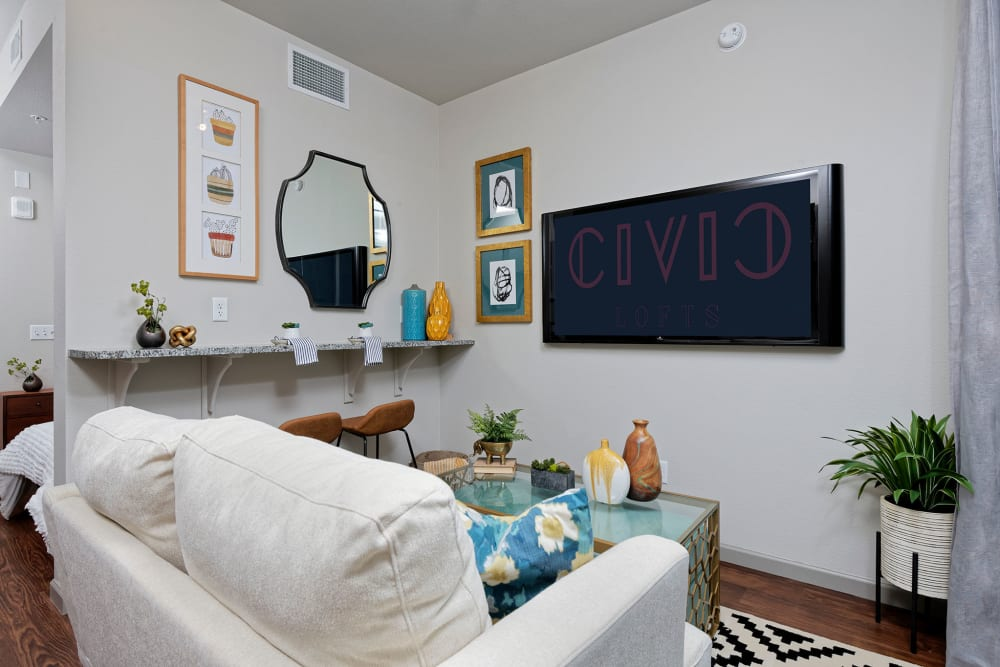 Relax in the living room at Civic Lofts in Denver, Colorado