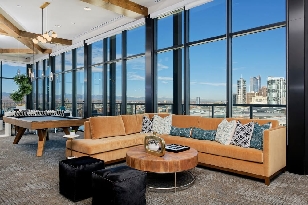 Pool table and lounge at Civic Lofts in Denver, Colorado