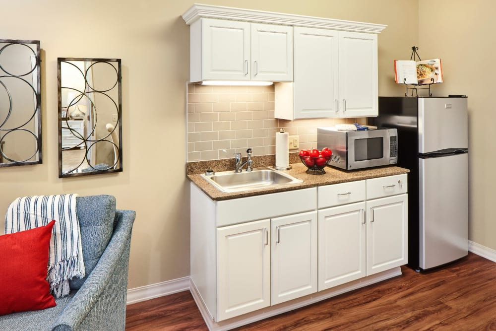 A kitchenette at Anthology of Overland Park in Overland Park, Kansas