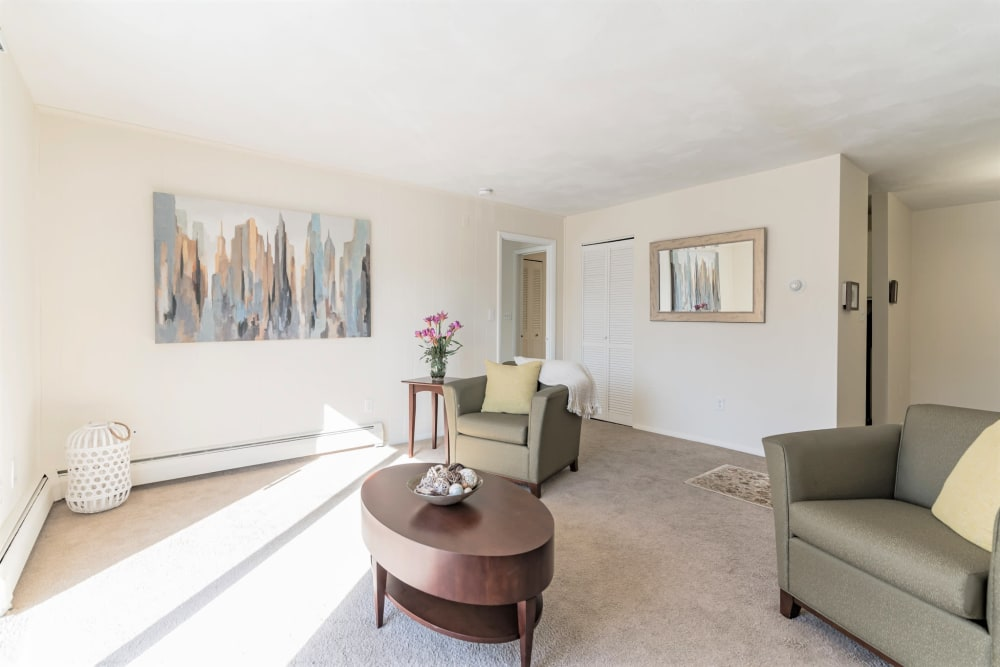 Spacious living room in apartment at { Park Village West in Westborough, Massachusetts