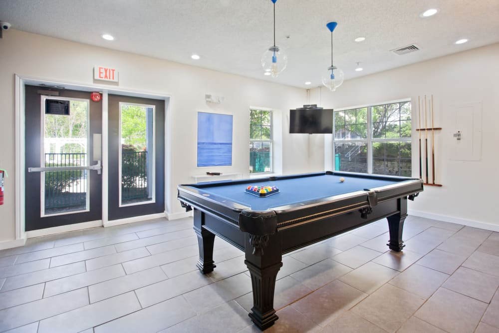 Billiard room in clubhouse at Vista Point Apartments in Wappingers Falls, New York