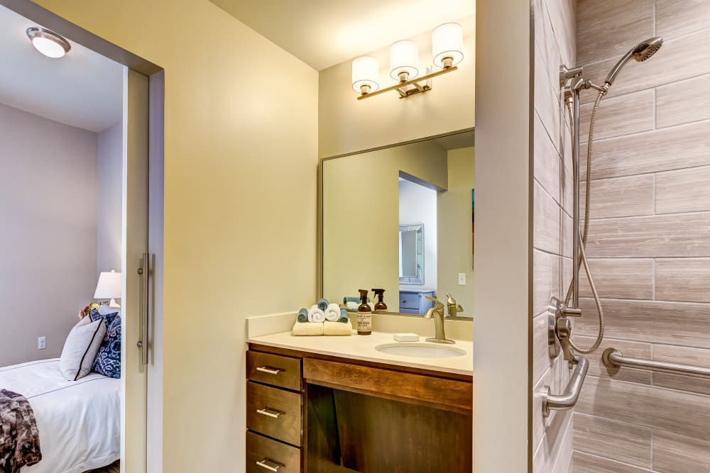 Model bathroom at Maplewood at Twinsburg in Twinsburg, Ohio