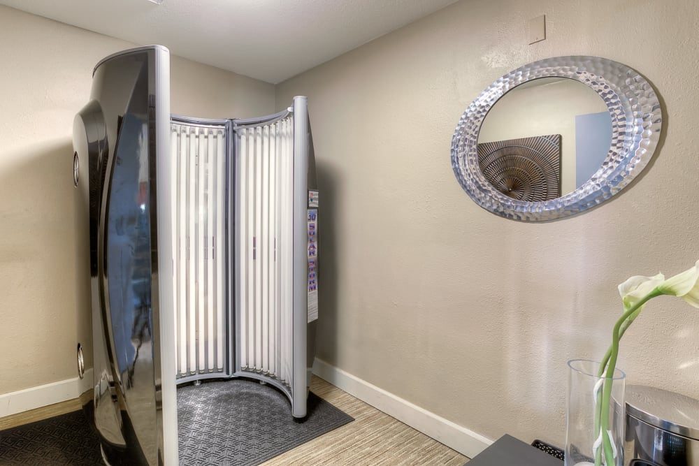 Tanning booth for resident use at Newport Crossing Apartments in Newcastle, Washington