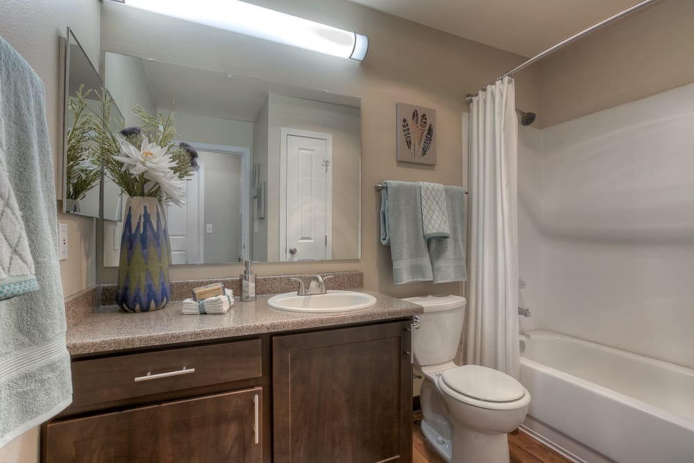 A bathroom with plenty of counter space at Pebble Cove Apartments in Renton, Washington