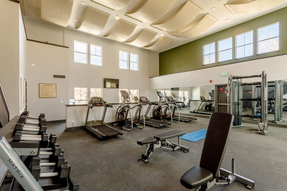 Fitness center with plenty of individual workout stations at Altitude Westminster in Westminster, Colorado