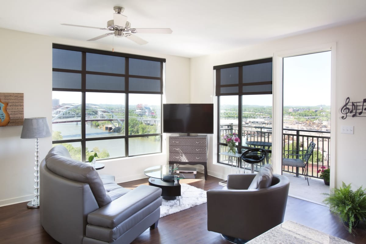 Amazing views of Nashville from your living room at City View Apartments in Tennessee