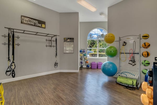 Fitness equipment at Palms at World Gateway in Orlando, Florida