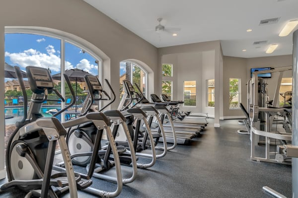 Treadmills and ellipticals at Palms at World Gateway in Orlando, Florida