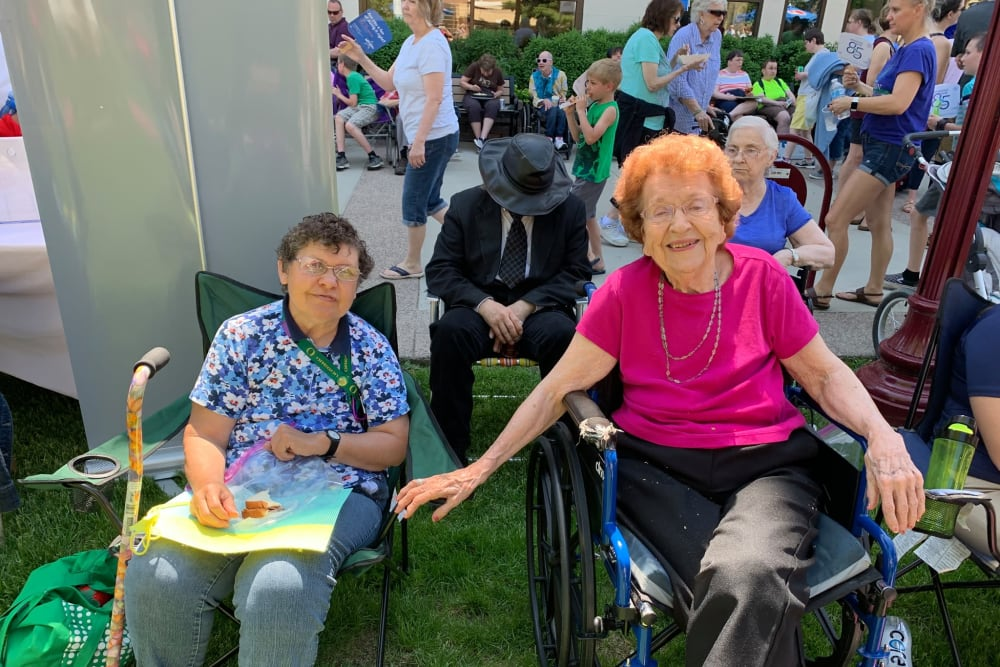 Residents enjoying an event outside at Water's Edge in Mankato, Minnesota
