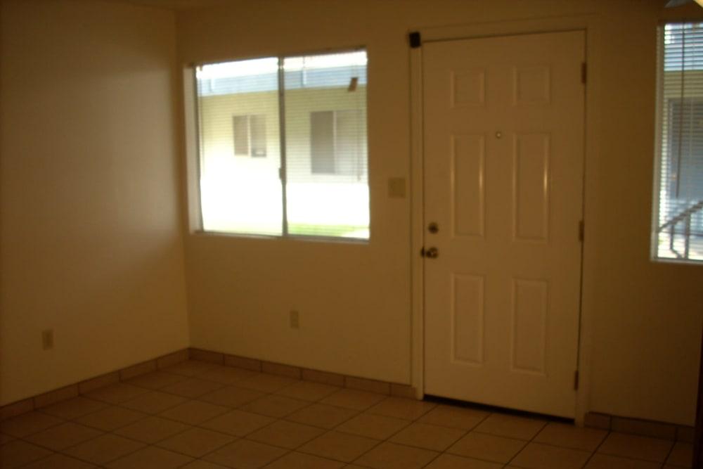 Entry room of a model apartment at El Potrero Apartments in Bakersfield, California