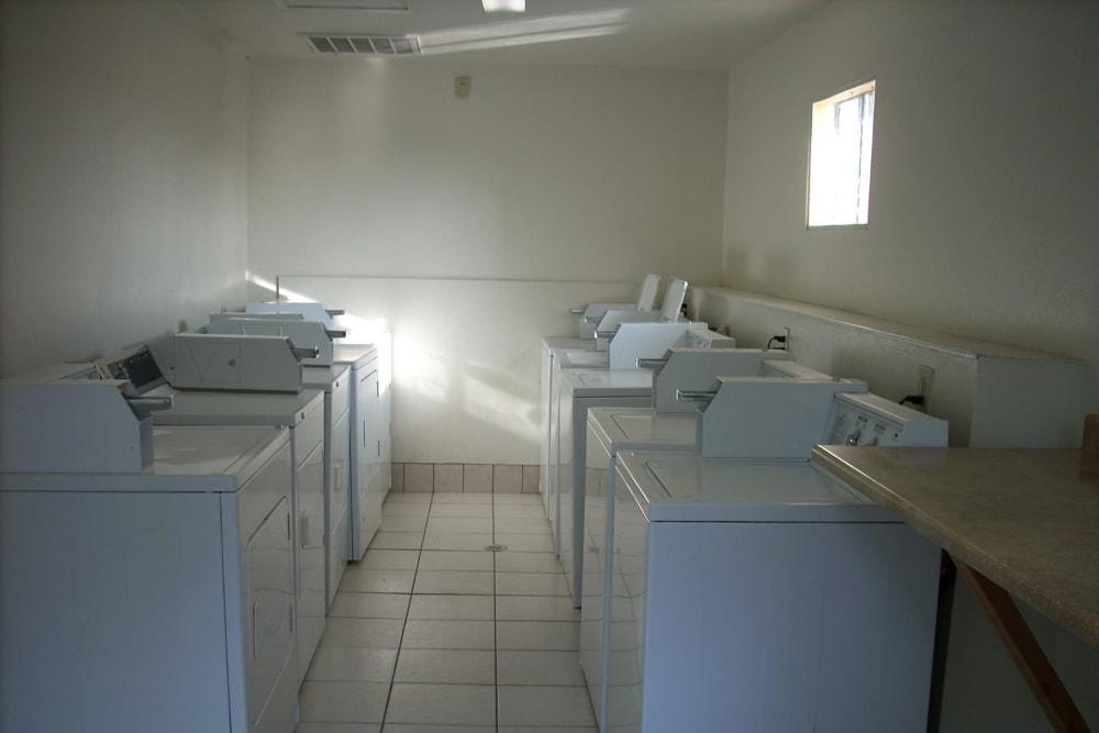 The laundry room at El Potrero Apartments in Bakersfield, California