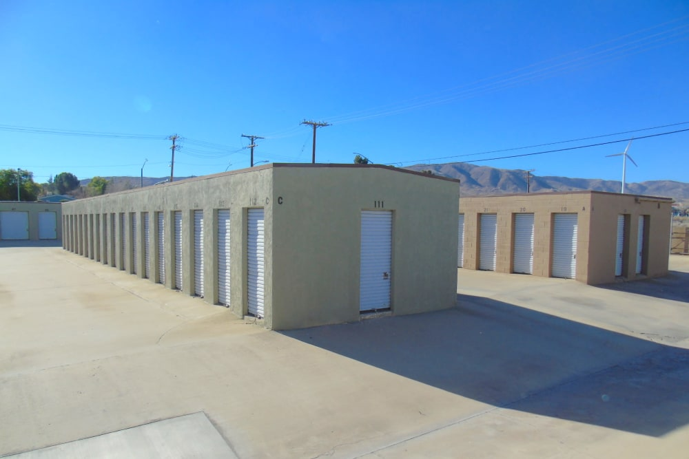 Outdoor drive-up access storage units at A-American Self Storage in Palmdale, California