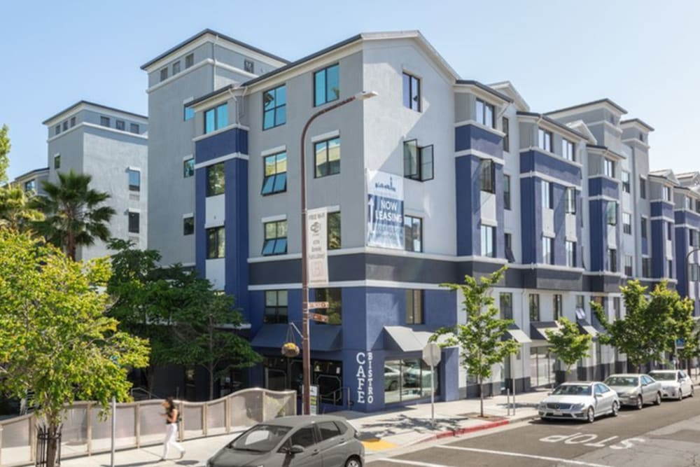 Exterior view of our community at K Street Flats Apartment Homes in Berkeley, California