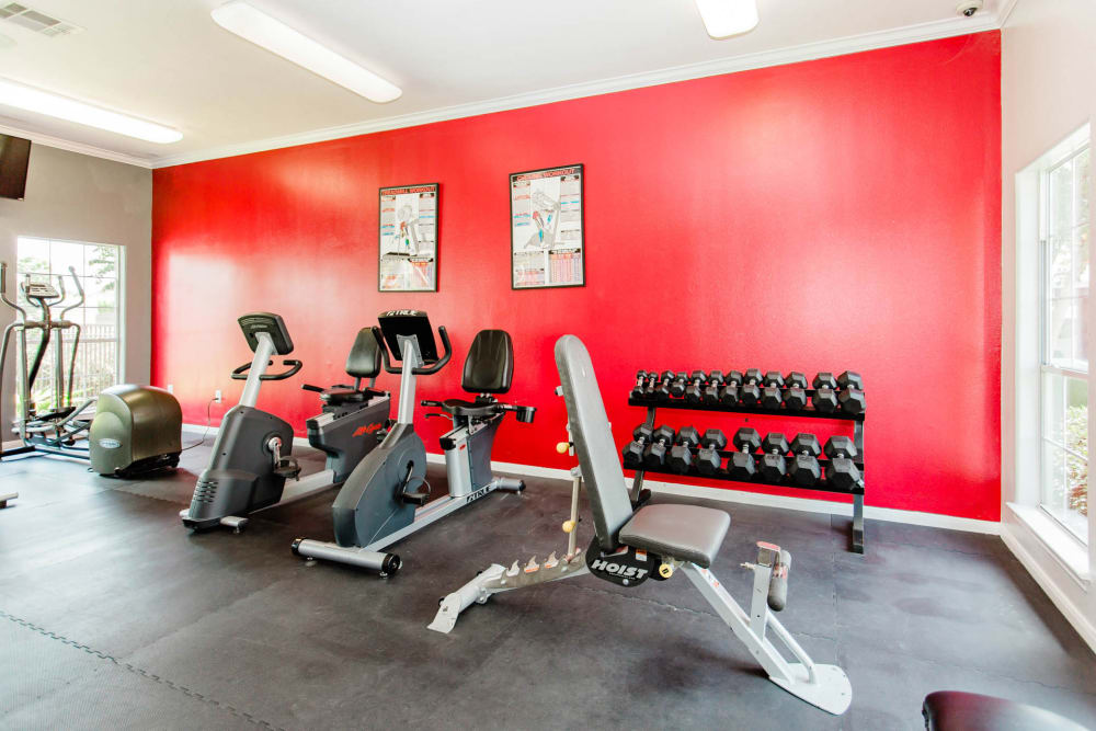 Spacious fitness center at Willow Lake Apartments in Katy, Texas
