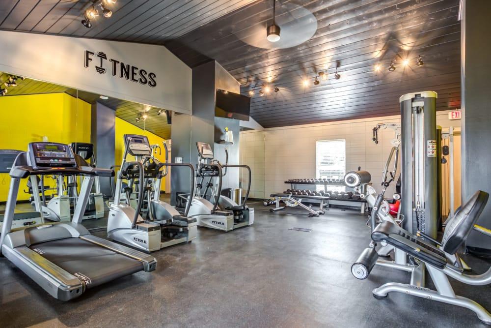 Modern fitness center at Aspen Place in Aurora, Illinois