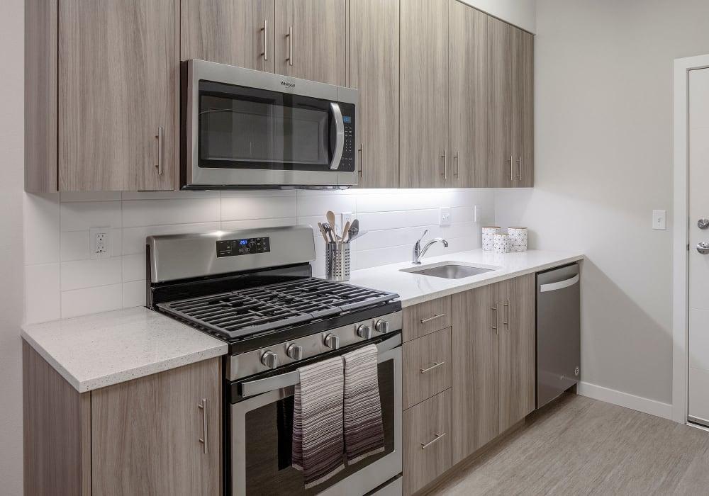Sleek, modern kitchen at Division Terrace in Portland, Oregon