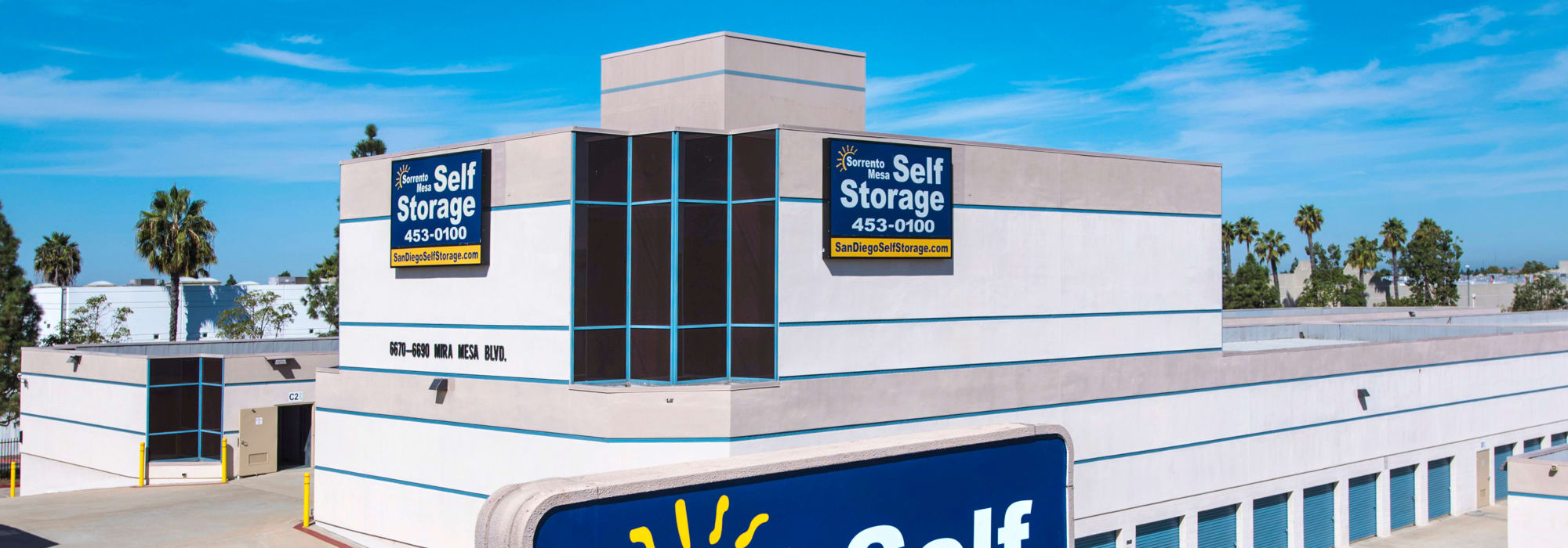 Branding on the exterior of Sorrento Mesa Self Storage in San Diego, California