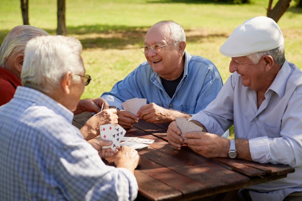 Residents playing cards at Clearwater at Sonoma Hills