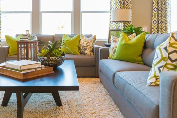 Vibrant living room at Grassfields Commons in Dracut, Massachusetts