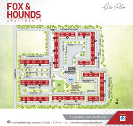 Printable site map image at Fox and Hounds Apartments in Columbus, Ohio