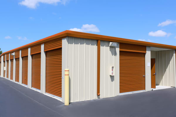 Storage units with purple doors at Friendly Self Storage in Gypsum, Colorado