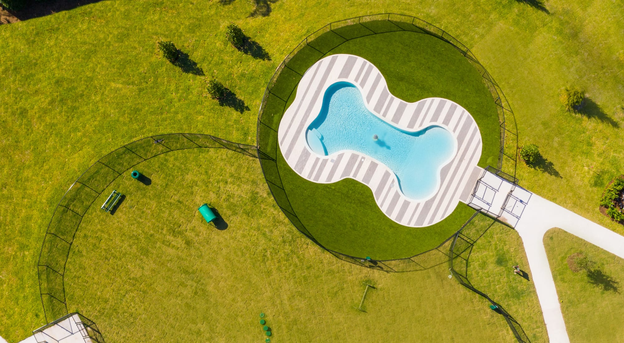 Aerial view of the onsite dog park at Luxor Club in Jacksonville, Florida