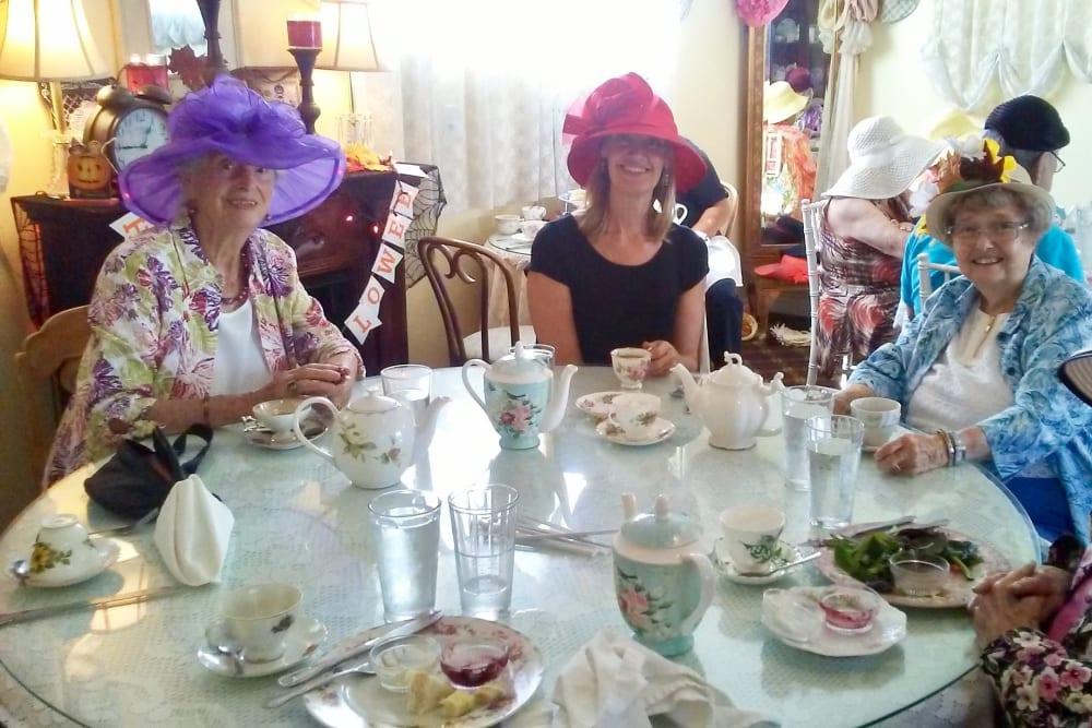 Tea party at Merrill Gardens at Huntington Beach in Huntington Beach, California.