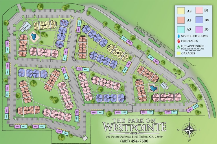 Site map for The Park on Westpointe in Yukon, Oklahoma