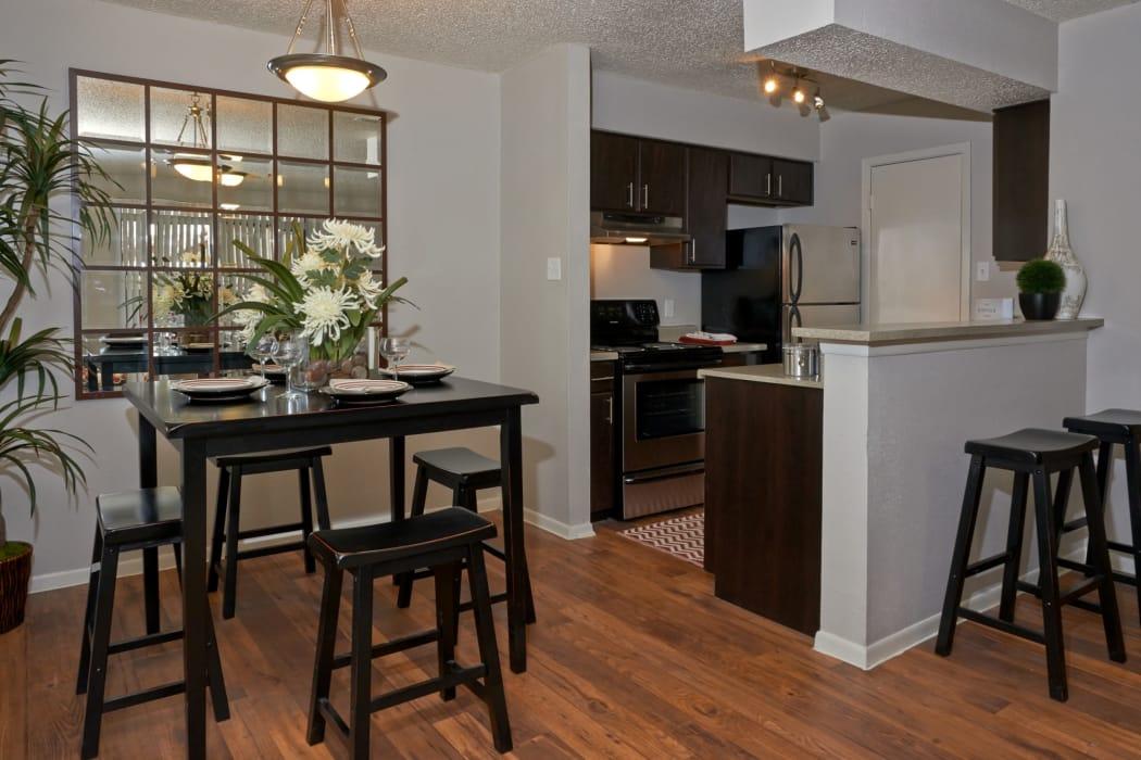 kitchen and dining room at Retreat at Hart Ranch in San Antonio, Texas
