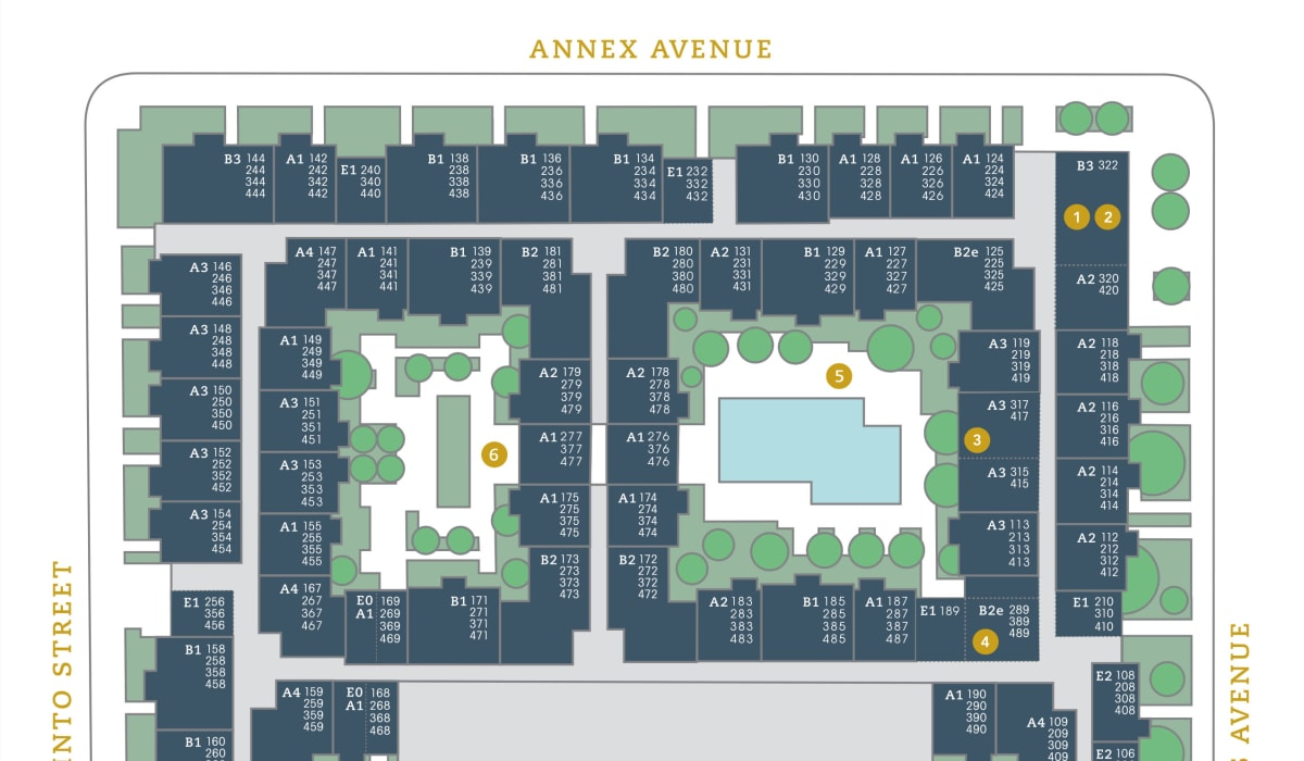 Our community's site plan at 4600 Ross in Dallas, Texas