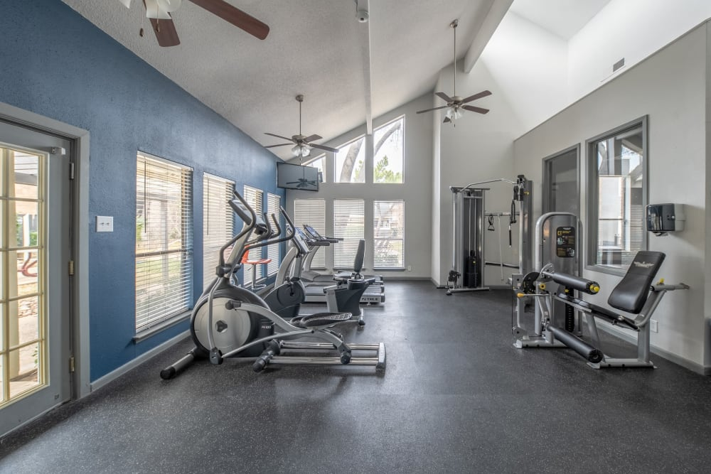 Fitness center at Ridgeview Place in Irving, Texas