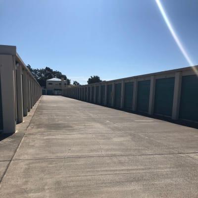Wide driveway between outdoor units at Storage Star Folsom in Folsom, California