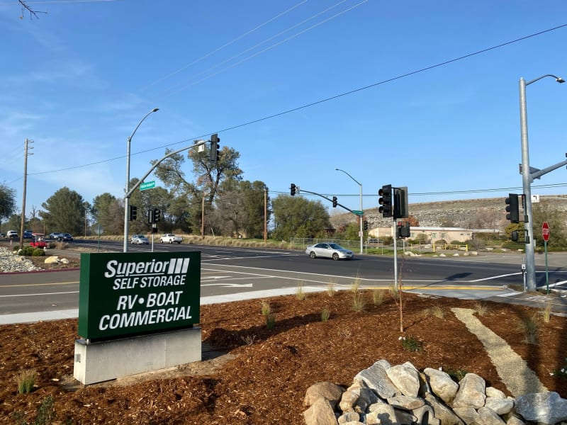 sign facing road at Superior Boat, RV & Commercial Self Storage in Folsom, California