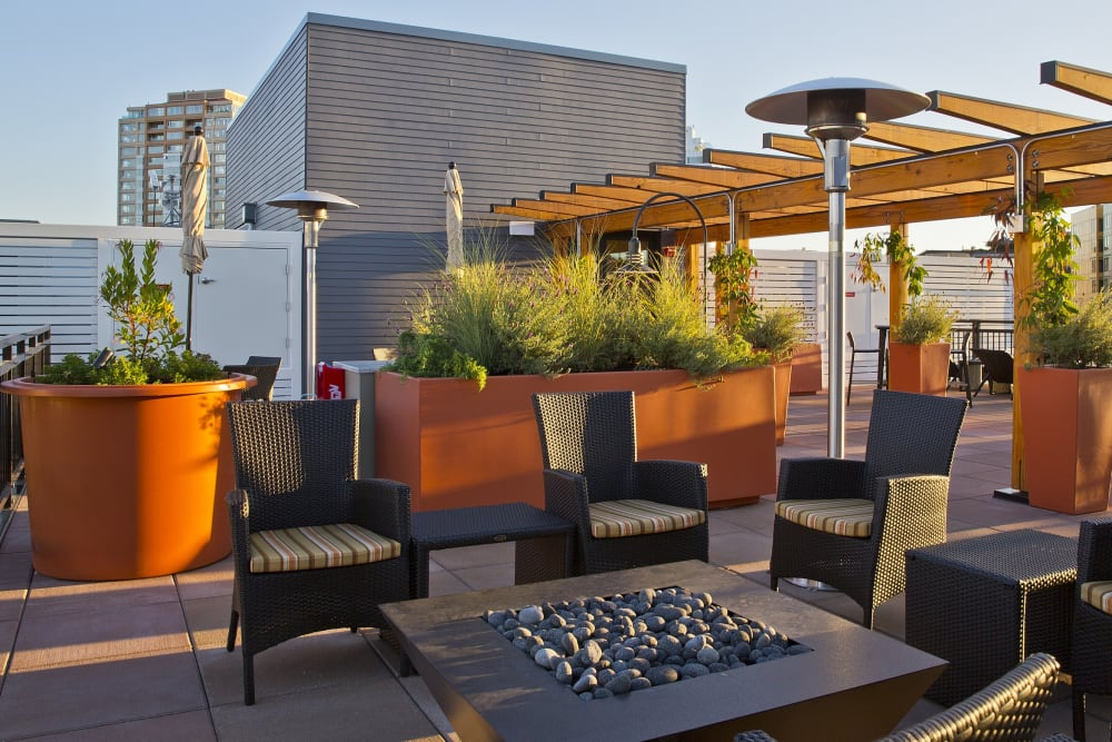 Rooftop Deck at sunset at The Century in Seattle, Washington