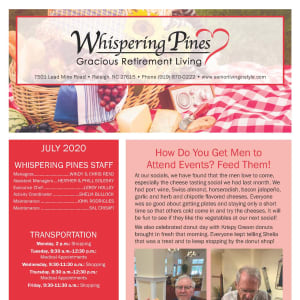 July Whispering Pines Gracious Retirement Living Newsletter