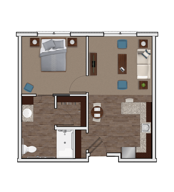Assisted Living One Bedroom at Stonecrest of Anderson Township in Cincinnati, Ohio
