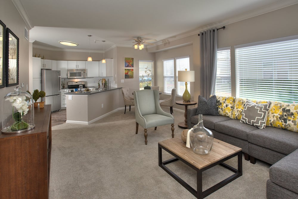 Spacious model living room at Iron Point at Prairie Oaks in Folsom, California